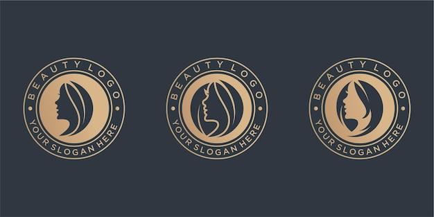 Coleção vintage de design de logotipo de beleza