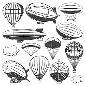 Coleção vintage de dirigíveis com nuvens, balões de ar quente e dirigíveis de diferentes tipos isolados