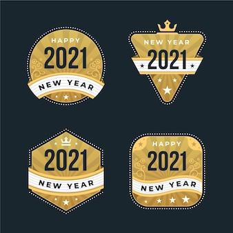 Coleção vintage de distintivos de ano novo 2021