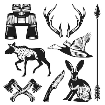 Coleção vintage de elementos de caça