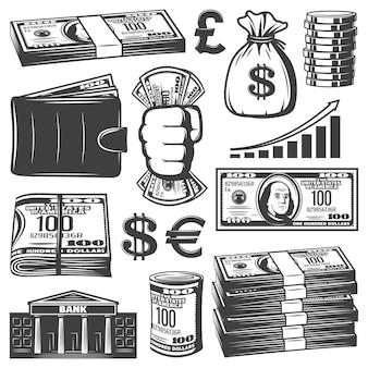 Coleção vintage de elementos de caixa com pilhas de dinheiro, saco de notas, moedas crescendo gráfico, carteira, banco, edifício isolado