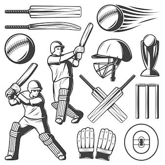 Coleção vintage de elementos de críquete