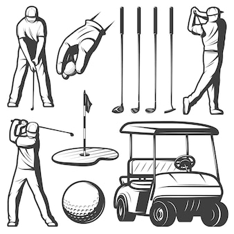 Coleção vintage de elementos de golfe