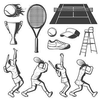 Coleção vintage de elementos de tênis