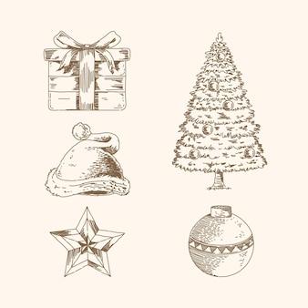 Coleção vintage de elementos natalinos