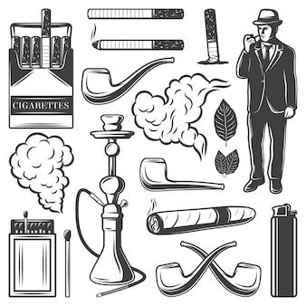 Coleção vintage de elementos para fumar