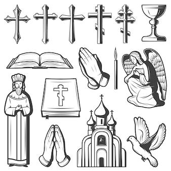 Coleção vintage de elementos religiosos