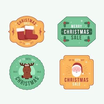Coleção vintage de emblemas de natal