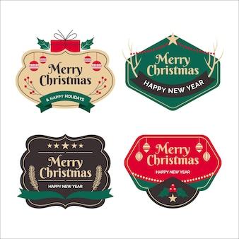 Coleção vintage de etiquetas de natal