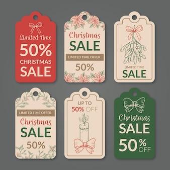 Coleção vintage de etiquetas de venda de natal