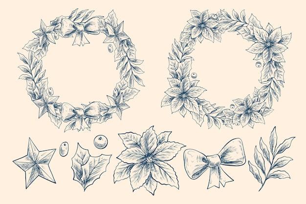 Coleção vintage de flores e guirlandas de natal Vetor grátis