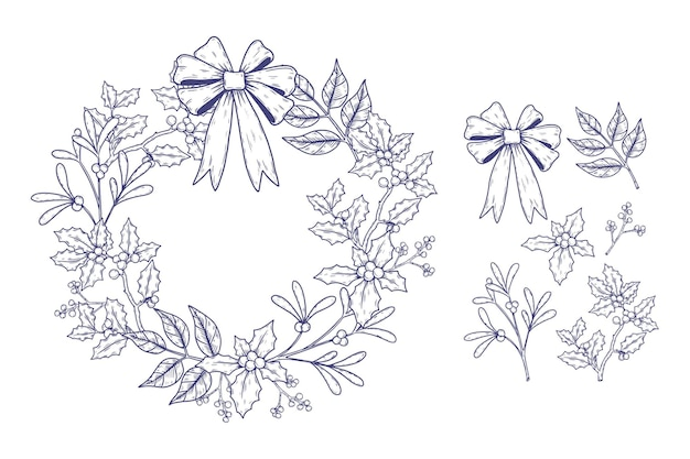 Coleção vintage de flores e guirlandas de natal