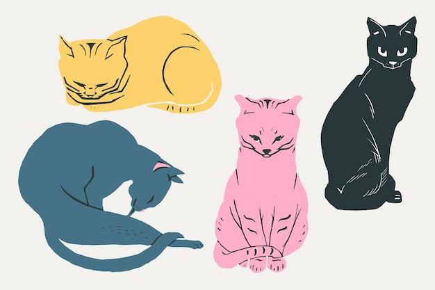Coleção vintage de gatos desenhados à mão