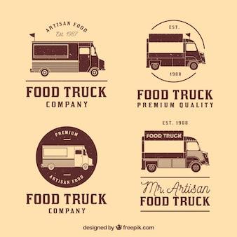 Coleção vintage de logotipos de caminhão de alimentos