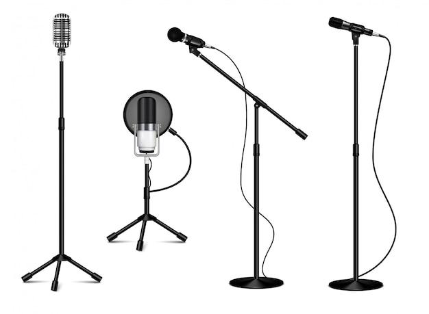 Coleção vintage de microfones profissionais em pé com fio no fundo branco na ilustração realista estilo isolado