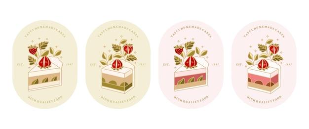 Coleção vintage de padaria, pastelaria, logotipo de bolo e rótulo de comida com elementos de planta de morango