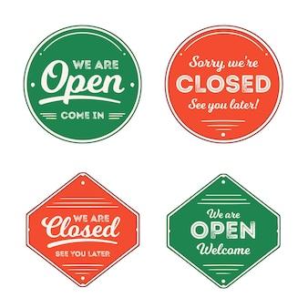 Coleção vintage de quadro indicador aberto e fechado
