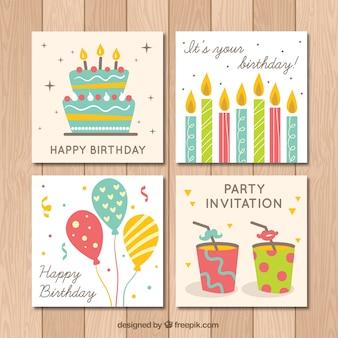 Coleção vintage de quatro cartões de aniversário