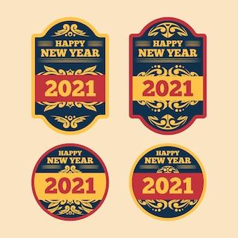 Coleção vintage de rótulos de ano novo 2021
