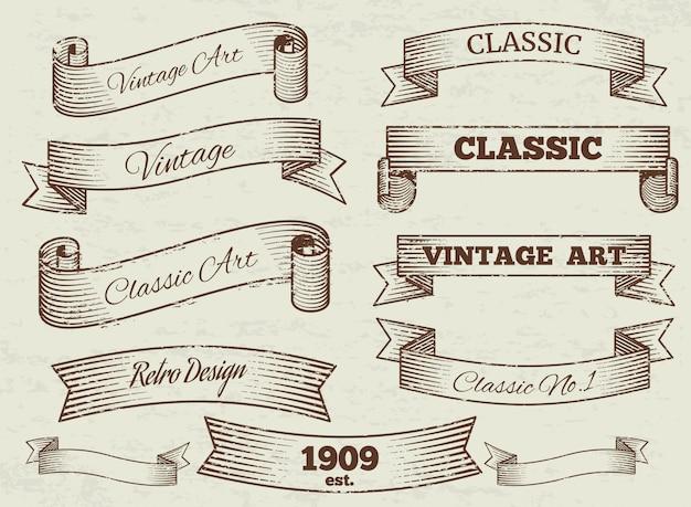 Coleção vintage de rótulos e banners