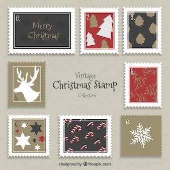 Coleção vintage de selo de natal