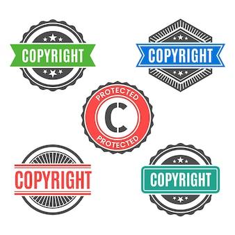 Coleção vintage de selos de direitos autorais