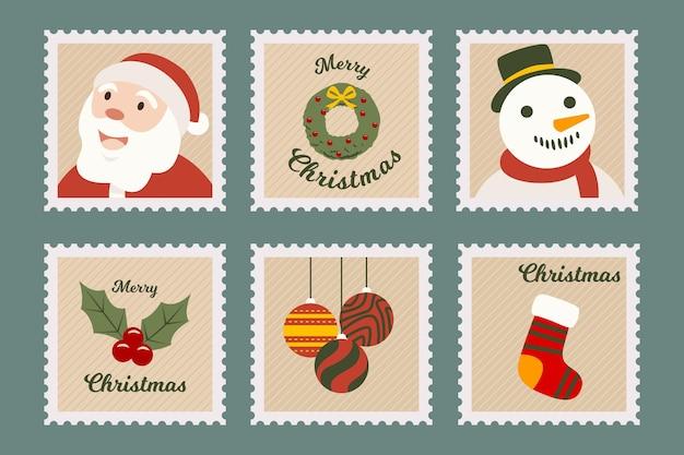 Coleção vintage de selos de natal