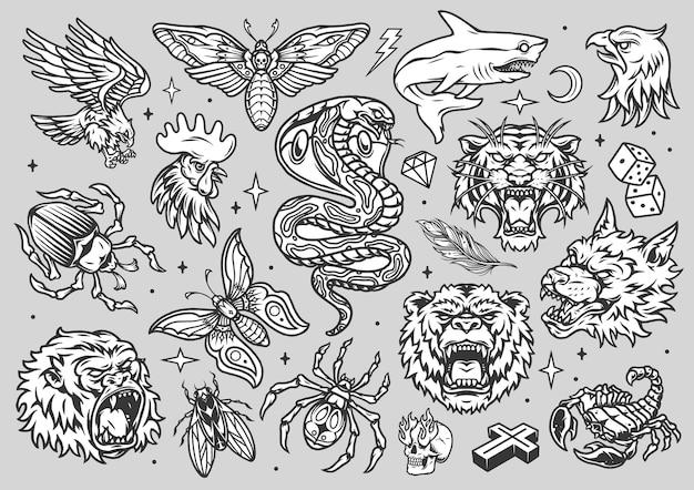 Coleção vintage de tatuagens monocromáticas com cabeças de animais irritados, insetos, tubarão, dados, cruz, diamante, relâmpago, crescente, estrelas, caveira, com, fogo, de, oculos