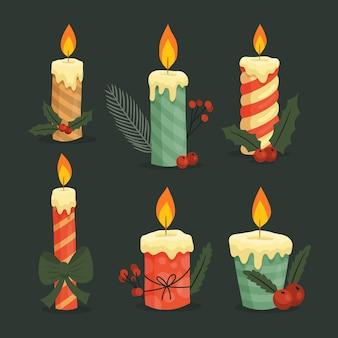 Coleção vintage de velas de natal