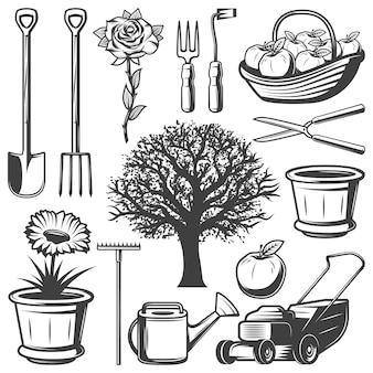Coleção vintage garden elements