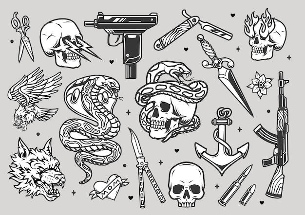 Coleção vintage monocromática de tatuagens com facas de arma de barbear e punhal balas cabeça de lobo zangado cobra coração de águia âncora crânios com relâmpagos e chamas nas órbitas dos olhos