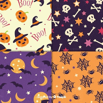 Coleção vintage padrão de halloween