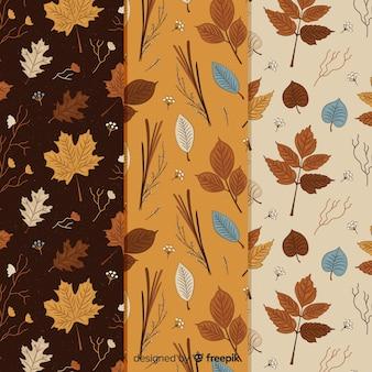 Coleção vintage padrão de outono