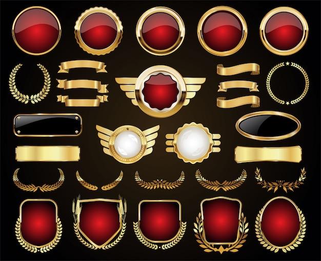 Coleção vintage retrô com emblema dourado e rótulos