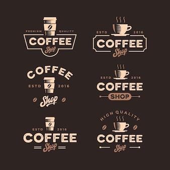 Coleção vintage retrô de design de logotipo de cafeteria
