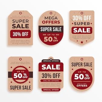 Coleção vintage tag de venda