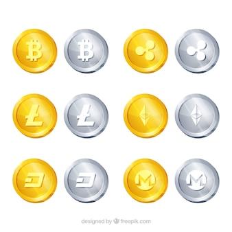 Colecção de 12 moedas de criptocorrência