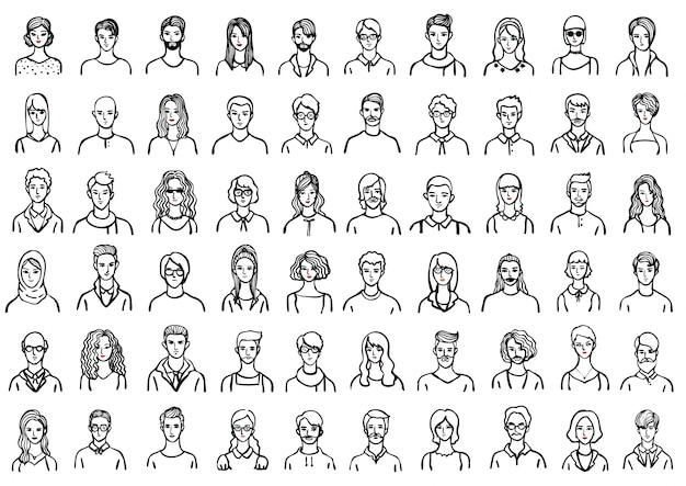Colecção de avatar das mãos desenhadas