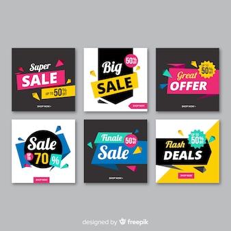 Colecção de banner de venda de mídia social