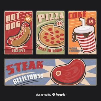 Colecção de cartão vintage de comida