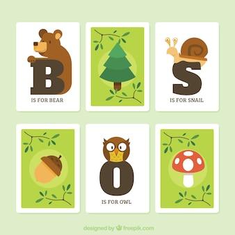 Colecção de cartões com inicial e animais