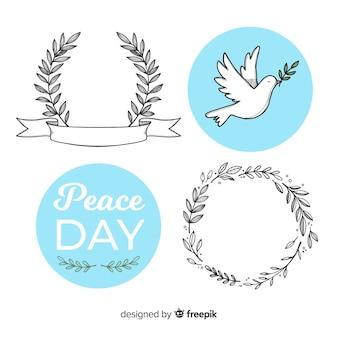 Colecção de crachás do dia da paz mundial