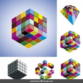 Colecção de cubos 3d