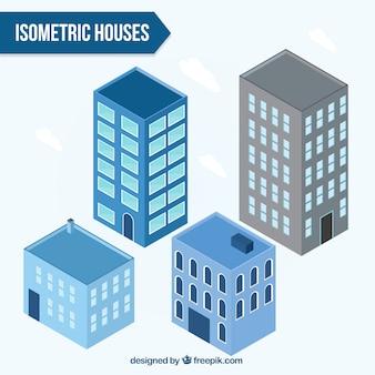 Colecção de edifícios isométricos