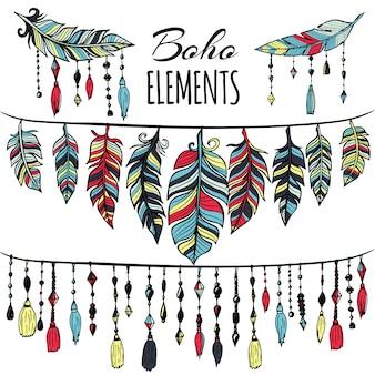 Colecção de elementos boho
