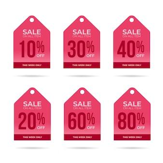 Colecção de etiquetas de desconto de venda