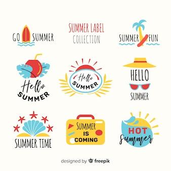 Colecção de etiquetas de verão