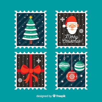 Colecção de selos de natal plana simples