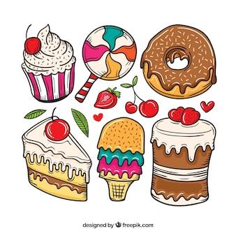 Colecção de sobremesas de doces em estilo desenhado à mão