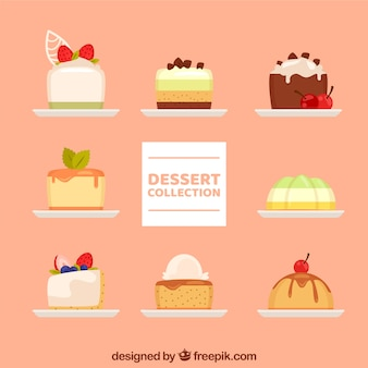 Colecção de sobremesas doces em estilo desenhado à mão